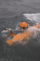 The delta submersible ascends to the surface of the ocean following a dive at Cordell Bank National Marine Sanctuary off the coast of California.