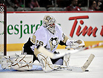21 September 2009: Pittsburgh Penguins' goalie Marc-Andre Fleury warms up prior to a pre-season game against the Montreal Canadiens at the Bell Centre in Montreal, Quebec, Canada. The Canadiens defeated the defending Stanley Cup Champion Penguins 4-3. Mandatory Credit: Ed Wolfstein Photo
