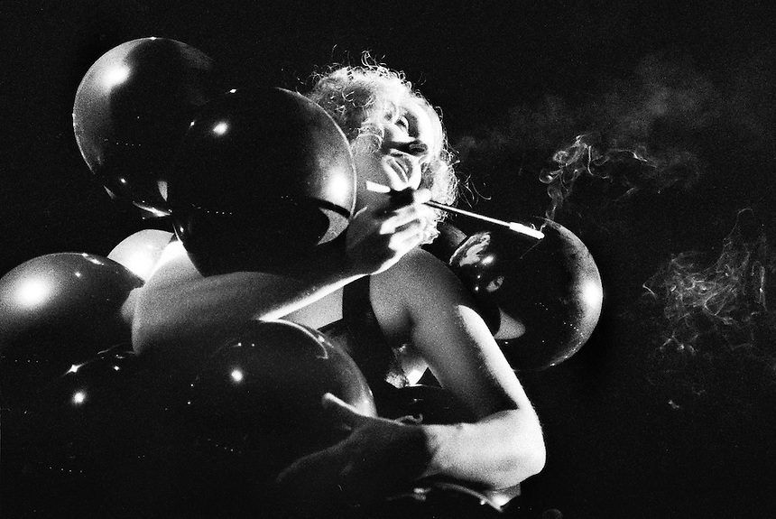 Sasha Von Bon Bon of the de-banded Dangerettes bursts her balloons at a Valentine's Day show at Lee's Palace. Sasha Von Bon Bon now performs with the burlesque troupe the Scandelles...