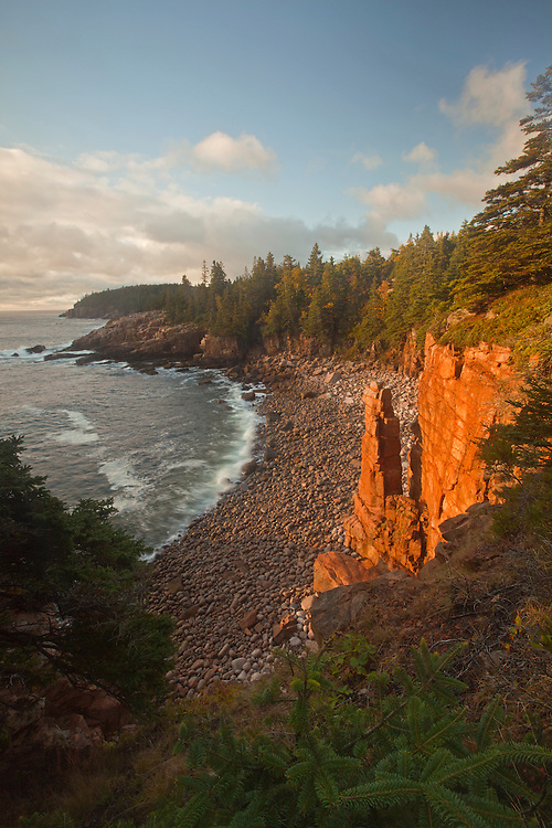 Rock spire in Monument Cove at Acadia National Park, Maine, USA