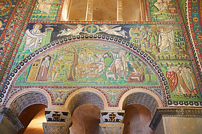 Mosaic panel depicting The sacrifice of Isaac.  Byzantine Roman mosaics of the Basilica of San Vitale in Ravenna, Italy. Mosaic decoration paid for by Emperor Justinian I in 547. A UNESCO World Heritage Site