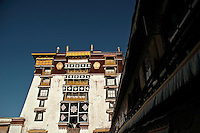 The Potala Palace in Lhasa, Tibet. The 350-year-old former seat of the Tibetan government and winter palace of the Dalai Lamas is an eerily quiet museum with gift shops offering trinkets and books celebrating the long history of this magnificent building.