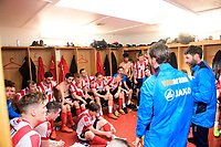 Lincoln City's assistant manager Nicky Cowley and Lincoln City manager Danny Cowley, right, speak to the players at the end of the game<br /> <br /> Photographer Chris Vaughan/CameraSport<br /> <br /> Vanarama National League - Lincoln City v Macclesfield Town - Saturday 22nd April 2017 - Sincil Bank - Lincoln<br /> <br /> World Copyright &copy; 2017 CameraSport. All rights reserved. 43 Linden Ave. Countesthorpe. Leicester. England. LE8 5PG - Tel: +44 (0) 116 277 4147 - admin@camerasport.com - www.camerasport.com