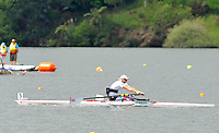 Hamilton, NEW ZEALAND. GBR ASM1X Tom AGGAR, winning his heat at the  2010 World Rowing Championship on Lake Karapiro Monday  01/11/2010. [Mandatory Credit Peter Spurrier:Intersport Images].