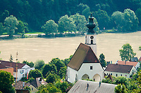 Engelhartszell, Danube, Upper Austria, June 2010. A birdseye view on the village of Engelhartszell and the river Danube. The 450 kilometre long Donausteig hiking trail roughly follows the Danube on both sides of the river between Passau in Germany and Grein in Austria. Photo by Frits Meyst/Adventure4ever.com