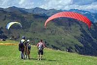 Zell am See, Salzburgerland, Austria, September 2008. Tandem paragliders take off from the Schmittenhohe. From the lakeside town of Zell am See we hike in the surrounding mountains.  Photo by Frits Meyst/Adventure4ever.com