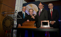 "Washington DC,September 7, 2016, USA: From left to right John Gray,Director of the Smithsonian Museum of American History, Madeleine K.Albright, David J Skorton, Sec of the Smithsonian Institutions, and David Rubenstein gather for a group photo after The National Museum of American History presents its inaugural ""Great Americans"" award Madeleine K. Albright.   Photo by Patsy Lynch/MediaPunch"