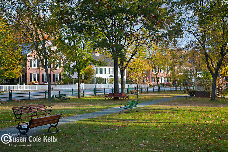 Fall foliage on the town green in Woodstock, VT, USA
