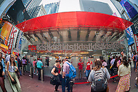 Theatergoers at the TKTS half-price tickets booth in Times Square in New York on Wednesday, May 27, 2015. The 2014-2015 Broadway season was the highest-grossing season in history according the The Broadway League with audience attendance breaking the 13 million mark. (© Richard B. Levine)