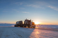 Truck drives the James Dalton Highway in Alaska's Arctic.