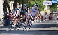 Giro d'Italia stage 13.Savano-Cervere: 121km..Jeremy Hunt & Jussi Veikkanen leading the peloton through Ceva