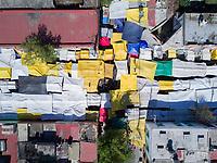La lagunilla market near Tepito, aerial drone photography, Mexico City, Mexico