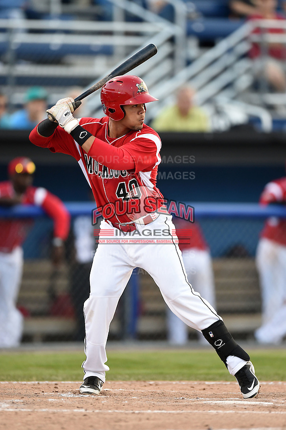 Batavia Muckdogs outfielder Victor Castro (40) at bat during a game against the Jamestown Jammers on July 7, 2014 at Dwyer Stadium in Batavia, New York.  Batavia defeated Jamestown 9-2.  (Mike Janes/Four Seam Images)