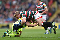 Tom Youngs of Leicester Tigers is tackled. Aviva Premiership match, between Leicester Tigers and Sale Sharks on April 29, 2017 at Welford Road in Leicester, England. Photo by: Patrick Khachfe / JMP