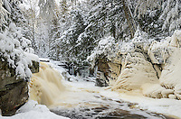 A unique winter view of Canyon Falls located within the Sturgeon River Gorge Wilderness Area. Alberta, MI