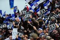 Bath Rugby supporters in the crowd celebrate a try. Aviva Premiership match, between Bath Rugby and Exeter Chiefs on December 31, 2016 at the Recreation Ground in Bath, England. Photo by: Patrick Khachfe / Onside Images