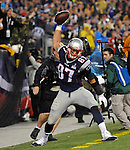 New England Patriots tight end Rob Gronkowski spikes a football after scoring a touchdown against the Pittsburgh Steelers during the third quarter of the Patriots home opener at Gillette Stadium in Foxboro on Thursday, September 10, 2015. Photo by Christopher Evans