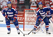 Scott Wilson (UML - 23), Jake Suter (UML - 28) - The visiting University of Massachusetts Lowell River Hawks defeated the Boston University Terriers 3-0 on Friday, February 22, 2013, at Agganis Arena in Boston, Massachusetts.