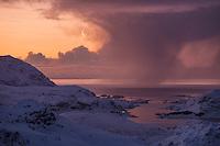 Winter storms over Vestfjord at dawn, Moskenesøy, Lofoten Islands, Norway