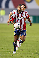 CARSON, CA - July 7, 2012: Chivas USA defender Rauwshan McKenzie (4) during the Chivas USA vs Vancouver Whitecaps FC match at the Home Depot Center in Carson, California. Final score Vancouver Whitecaps FC 0, Chivas USA 0.