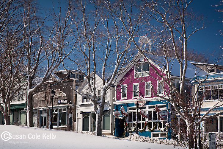 Fresh snow frosts the shops in Bar Harbor, ME, USA