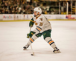 20 January 2017: University of Vermont Catamount Defenseman Trey Phillips, a Junior from Okotoks, Alberta, in second period action against the University of Connecticut Huskies at Gutterson Fieldhouse in Burlington, Vermont. The Catamounts lead throughout the game to defeat the Huskies 5-4 in Hockey East play. Mandatory Credit: Ed Wolfstein Photo *** RAW (NEF) Image File Available ***