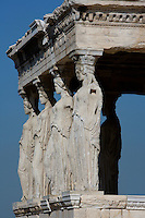 ATHENS, GREECE - APRIL 10 : A side view of the Porch of the Caryatids of the Erechtheum, on April 10, 2007, in Athens, Greece. The Erechtheum was built on the Acropolis, between 421 and 405 BC, in the Ionic Order. The Porch of the Caryatids is on the South side of the Temple and comprises 6 sculptures of maidens bearing libations, in place of columns, standing on a high base with bead and reel and egg and dart mouldings, and supporting a decorated flat roof. The Caryatids wear a Peplos with a short cloak hanging from their shoulders. Their long thick hair is braided around their head and falls on each shoulder down their back. (Photo by Manuel Cohen)