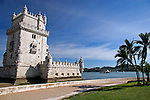 Europe, Portugal, Lisbon. Belém Tower, a UNESCO World Heritage Site in the Belem district of Lisbon.
