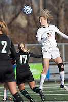 College of St Rose forward Jennifer Busk (27) heads the ball.. In 2012 NCAA Division II Women's Soccer Championship Tournament First Round, College of St Rose (white) defeated Wilmington University (black), 3-0, on Ronald J. Abdow Field at American International College on November 9, 2012.