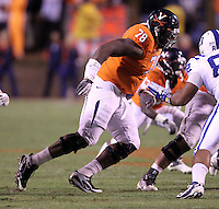 CHARLOTTESVILLE, VA- NOVEMBER 12: Offensive tackle Morgan Moses #78 of the Virginia Cavaliers runs on the field during the game against the Duke Blue Devils on November 12, 2011 at Scott Stadium in Charlottesville, Virginia. Virginia defeated Duke 31-21. (Photo by Andrew Shurtleff/Getty Images) *** Local Caption *** Morgan Moses