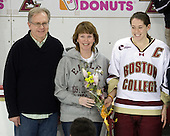 Richard Kurth, Michele Kurth, Katelyn Kurth (BC - 14) - The Boston College Eagles and the visiting University of New Hampshire Wildcats played to a scoreless tie in BC's senior game on Saturday, February 19, 2011, at Conte Forum in Chestnut Hill, Massachusetts.