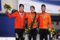 SPEEDSKATING: CALGARY: Olympic Oval, 26-02-2017, ISU World Sprint Championships, Overall Podium Men, Håvard Holmefjord Lorentzen (NOR), Kai Verbij (NED), Kjeld Nuis (NED), ©photo Martin de Jong
