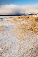 Snow covered sand dunes, Luskentyre Beach, Isle of Harris, Western Isles, Scotland
