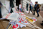 .Protester were required to keep signs with sticks outside the Capitol before going in. .On Tuesday February 15, 2011, Unions and other opponents of Gov. Scott Walker's emergency budget repair bill, which seeks to strip most collective bargaining rights from public employees, rallied  against the bill at the State Capitol in Madison, Wisconsin. Steve Apps-State Journal