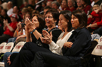 15 November 2007: Stanford Cardinal former player Jennifer Azzi (second from right) during Stanford's 97-62 loss against the USA Women's National Basketball Team at Maples Pavilion in Stanford, CA.