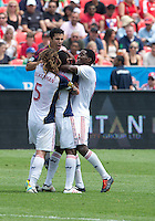 29 June 2013: Real Salt Lake players celebrate a goal by Real Salt Lake midfielder Yordany Alvarez #14 during an MLS game between Real Salt Lake and Toronto FC at BMO Field in Toronto, Ontario Canada.