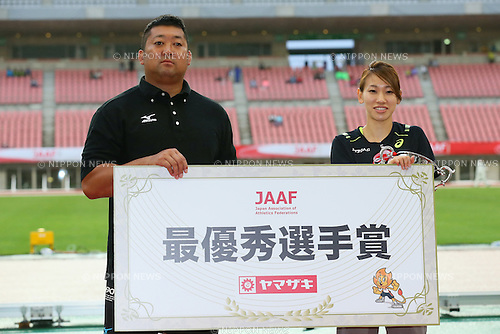 (L to R) <br /> Satoshi Hatase, <br /> Chisato Fukushima, <br /> JUNE 28, 2015 - Athletics : <br /> The 99th Japan Track &amp; Field National Championships <br /> Award Ceremony <br /> at Denka Big Swan Stadium, Niigata, Japan. <br /> (Photo by YUTAKA/AFLO SPORT)