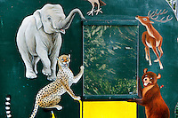 Detail of mobile educational panel, Parc Zoologique de Paris, or Zoo de Vincennes, (Zoological Gardens of Paris, also known as Vincennes Zoo), 1934, by Charles Letrosne, 12th arrondissement, Paris, France, pictured on May 3, 2011 in the evening. In November 2008 the 15 hectare Zoo, part of the Museum National d'Histoire Naturelle (National Museum of Natural History) closed its doors to the public and renovation works will start in September 2011. The Zoo is scheduled to re-open in April 2014. Picture by Manuel Cohen .