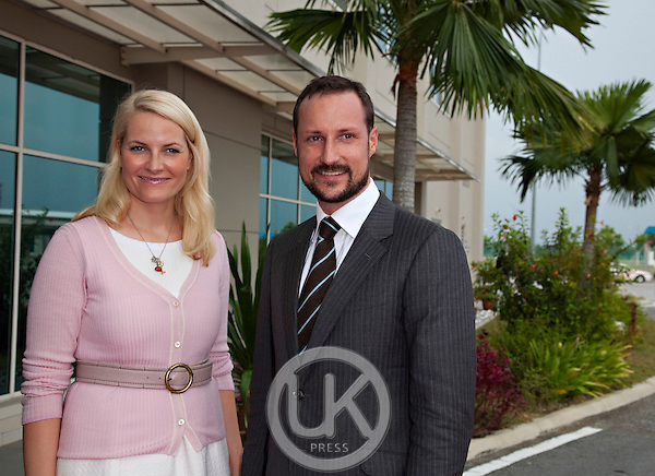 Crown Prince Haakon, and Crown Princess Mette Marit of Norway, on a three day official visit to Malaysia,.attend a Press meeting at  Aker Solutions, at Port Klang.on the last day of the visit.