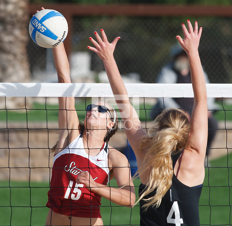 Stanford - April 23, 2015: Brittany Howard during the Stanford sand volleyball  match Thursday, at the Stanford Sand Volleyball Stadium in Stanford, Calif. <br />  <br /> Stanford edged Santa Clara, 3-2.