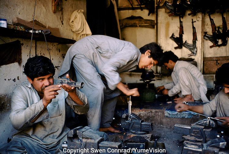 Producing mechanical piece for newly Pakistani made Kalashnikovs. Darra town in Pakistan clandestinely provides arms to more than eight Central Asian countries.