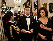 Comedian Stephen Colbert arrives with his wife Evelyn McGee-Colbert for a Kennedy Center Honors reception in the East Room of the White House, Sunday, December 4, 2011in Washington, DC.  For their accomplishments and contributions to the arts actress Meryl Streep, singer Neil Diamond, actress Barbara Cook, musician Yo-Yo Ma, and musician Sonny Rollins where etched recognized as this year's recipients of the Kennedy Center Honors..Credit: Brendan Smialowski / Pool via CNP