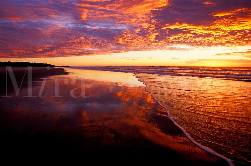 Australia, Queensland, Moreton Island, sunrise reflections on beach<br />