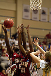 23 MAR 2012:  Aslea Williams, (5) left, and Kyria Buford (10) center, of Shaw University battle for a rebound against Jena Stutzman (10), right, of Ashland University, right, during the Division II Womens Basketball Championship held at Bill Greehey Arena in San Antonio, TX.  Shaw University defeated Ashland University 88-82 for the national title.  Rodolfo Gonzalez/ NCAA Photos
