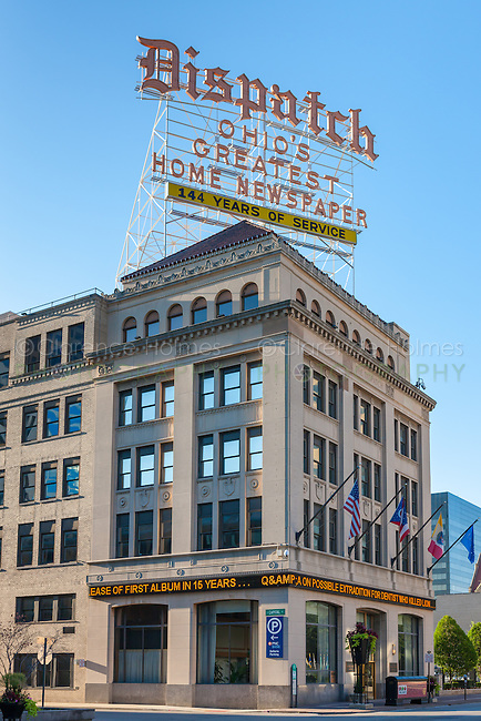 The Columbus Dispatch building and roof top sign in Columbus, Ohio.