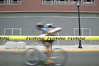3 July 2005 - Jersey City, NJ, USA - A rider competes in the final race of the 13th annual cycle messenger world championships, Jersey City, USA, July 2nd 2005. More than 700 riders from all over the world took part in the 4-day competition which carries event based on the daily work of a city bike messenger.