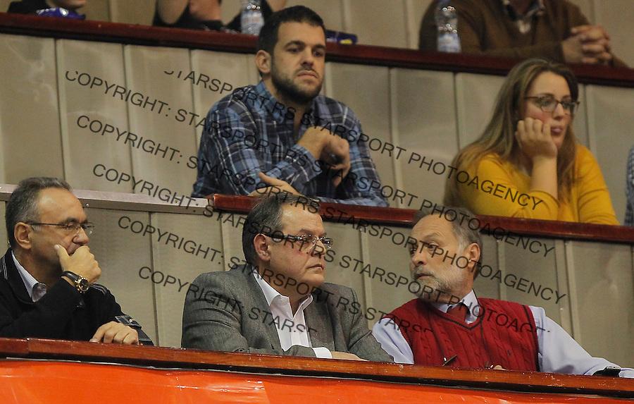 Kosarka ABA League season 2015-2016<br /> Crvena Zvezda v Partizan<br /> Nebojsa Covic (DOWN) Zarko Cabarkapa (TOP)<br /> Beograd, 03.11.2015.<br /> foto: Srdjan Stevanovic/Starsportphoto&copy;