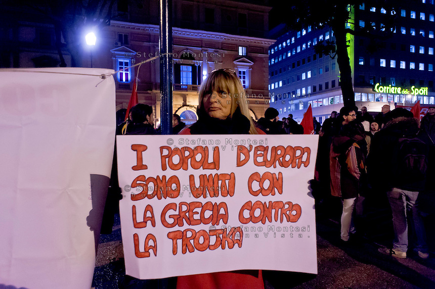 Roma 11 Febbraio 2015<br /> Manifestazione di solidariet&agrave; al popolo greco, sotto l&rsquo;Ambasciata Tedesca, contro la dittatura della Troika contro austerity e  il ricatto del debito e per un&rsquo;Europa unita dalle lotte e dalla solidariet&agrave;.<br /> Rome February 11, 2015<br /> Demonstration of solidarity with the people greek, in front the German Embassy, against the dictatorship of the Troika against austerity and the blackmail of the debt and for a united Europe from the struggles and solidarity.