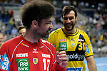 GER - Mannheim, Germany, September 23: Players of Rhein-Neckar Loewen celebrate after winning the DKB Handball Bundesliga match between Rhein-Neckar Loewen (yellow) and TVB 1898 Stuttgart (white) on September 23, 2015 at SAP Arena in Mannheim, Germany. Final score 31-20 (19-8) .  Darko Stanic #12 of Rhein-Neckar Loewen<br /> <br /> Foto &copy; PIX-Sportfotos *** Foto ist honorarpflichtig! *** Auf Anfrage in hoeherer Qualitaet/Aufloesung. Belegexemplar erbeten. Veroeffentlichung ausschliesslich fuer journalistisch-publizistische Zwecke. For editorial use only.