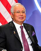 Prime Minister Mohammed Najib Abdul Razak of Malaysia holds bilateral meeting with United States President Barack Obama (not pictured) on the sidelines of the Nuclear Security Summit at the Washington Convention Center, Monday, April 12, 2010 in Washington, DC. .Credit: Ron Sachs / Pool via CNP